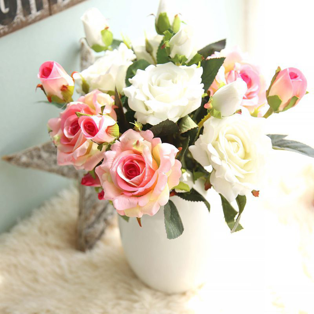 Girl12Queen 5 Pcs Artificial Rose Flowers Cloth Centerpiece Craft Wedding Party Home Decor