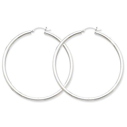 Women's 10K White Gold 2.50MM Hollow Tube Hoop Earrings (50 Millimeters)