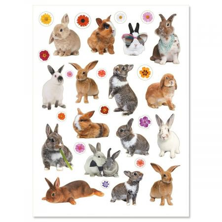Photo Bunnies and Flowers Stickers - 60 stickers - Rocket Bunny Sticker