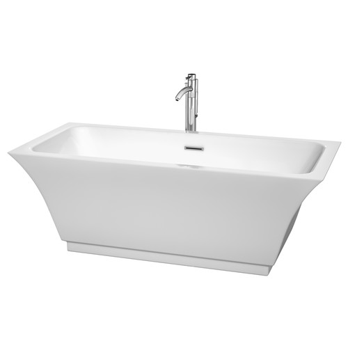 Wyndham Collection Galina 67 Inch Freestanding Bathtub In White With  Polished Chrome Drain And Overflow Trim