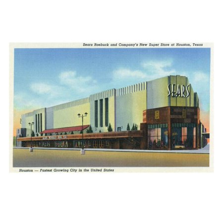 Houston, Texas - Exterior View of Sears Roebuck and Co Department Store Print Wall Art By Lantern Press