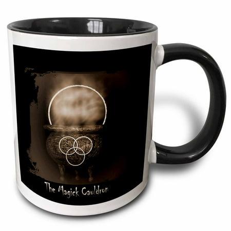 3dRose The Magick Cauldron Cauldron with smoke rising - Two Tone Black Mug, 11-ounce