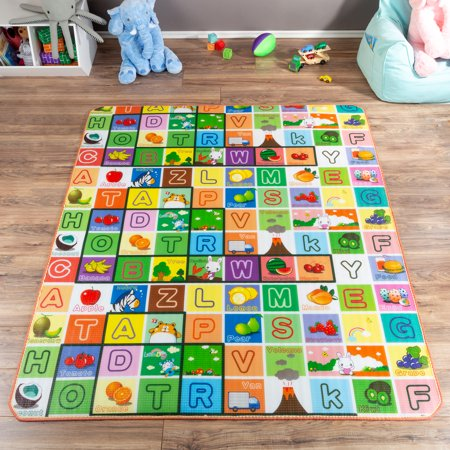 Reversible Baby Play Mat for Babies and Toddlers- Giant Learning Playmat with Alphabet and Animal Scenes- Nonslip, Nontoxic, Waterproof by Hey! Play! ()