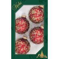 """2 5/8"""" Christmas Red Glass Balls with Floral Glitterlace Christmas Ball Ornaments by Christmas by Krebs 4 pack"""