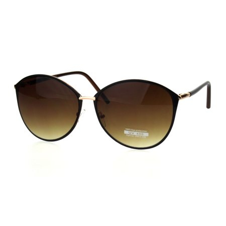 b637cf65222 SA106 - Womens Designer Fashion Metal Rim Butterfly Diva Sunglasses  Gradient Brown - Walmart.com