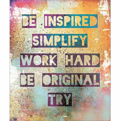 Work Hard Splatter Grunge Inspirational Typography Contemporary Modern Trendy Pink & Yellow Canvas Art by Pied Piper Creative