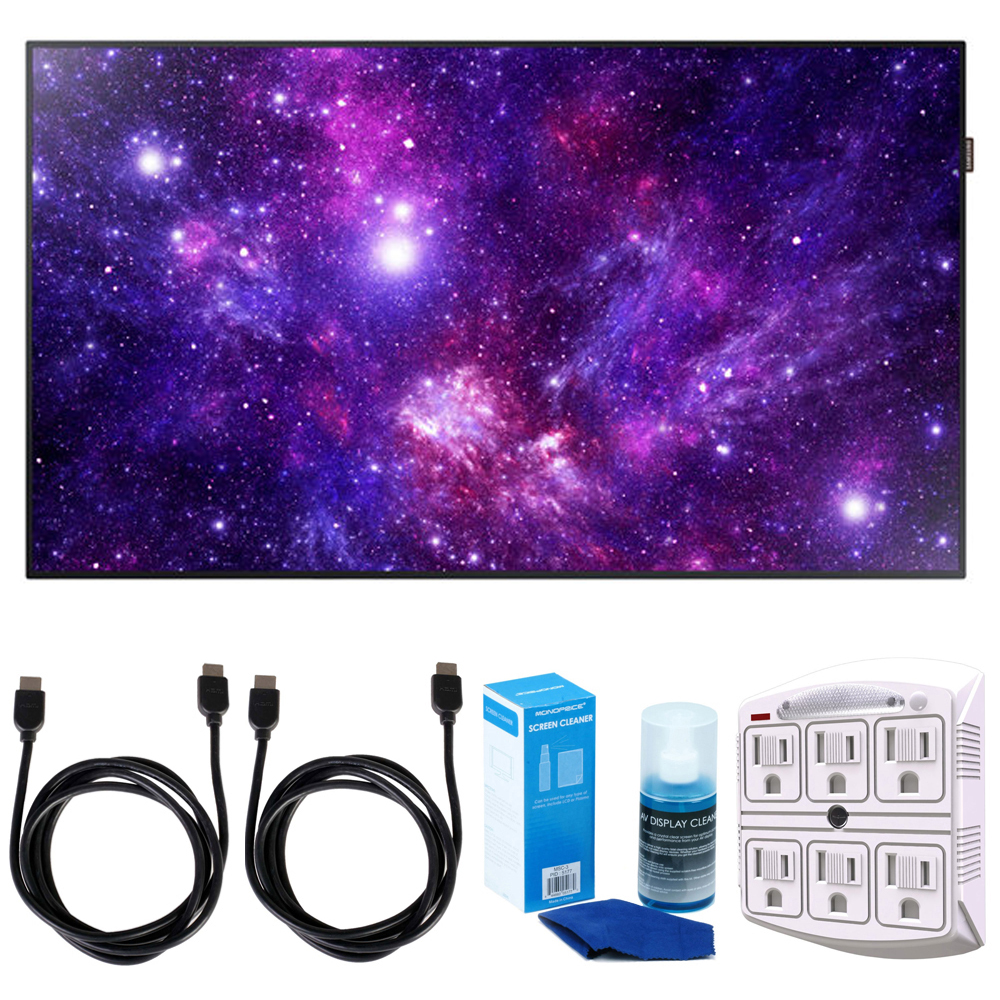 """Samsung 49"""" DC49H - Edge-Lit LED Display for Business w/ Accessories Bundle Includes, 2x 6ft. HDMI Cable, SurgePro 6-Outlet Surge Adapter with Night Light & Screen Cleaner For LED TVs"""