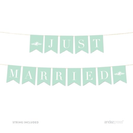 Just Married Floral Mint Green Wedding Hanging Pennant Party Banner with