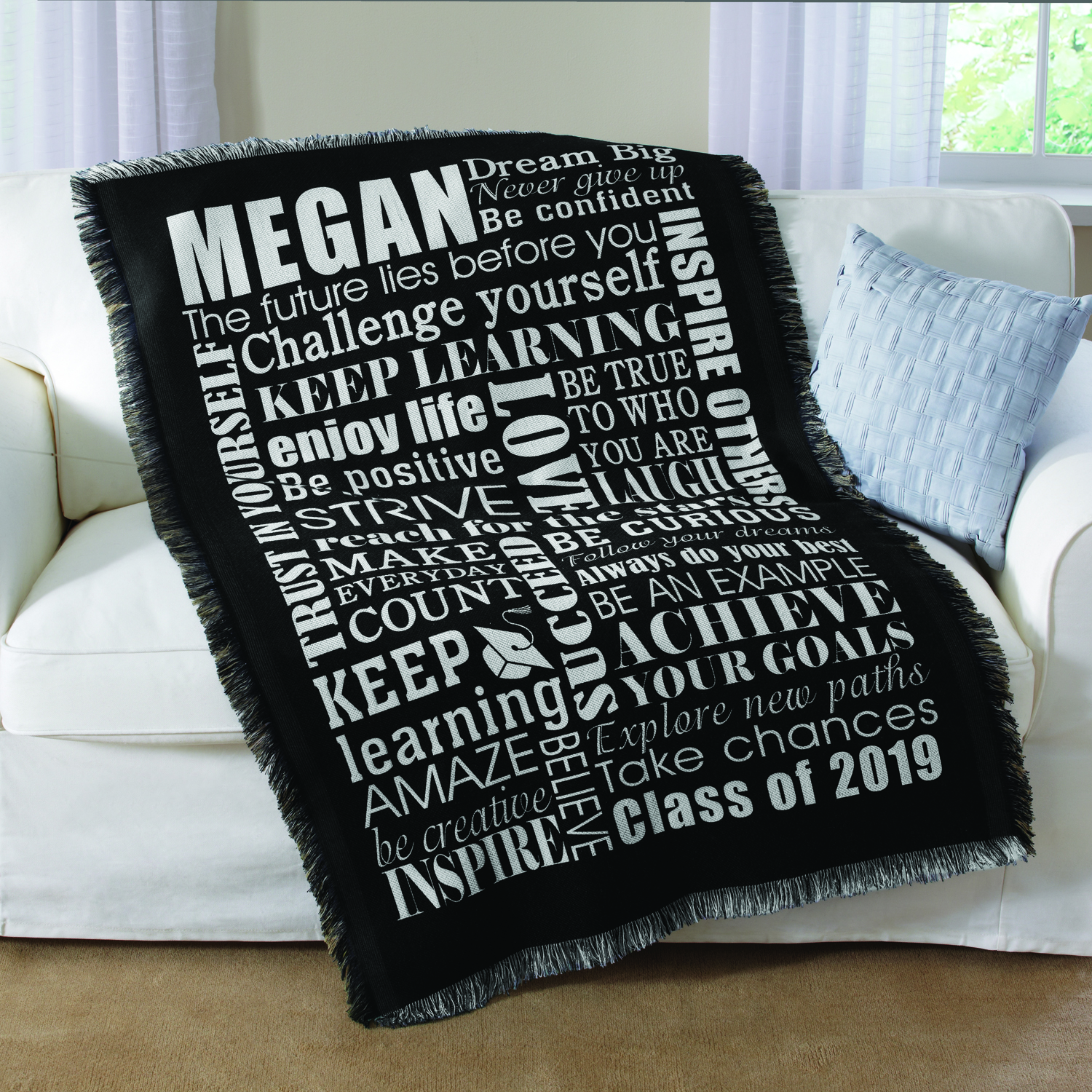Personalized Dream Big Graduation Throw, Available in 2 Colors
