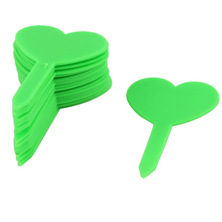 - Household Garden Plastic Heart Shaped Plant Seed Tag Label Marker Green 20pcs