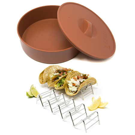 Alpha Living - Tortilla Warmer with 2 Taco Holder - 10 Inch Tortilla Server with Steam Release Hole Microwavable and Insulated - Stainless Steel Taco (Insulated Tortilla Server)