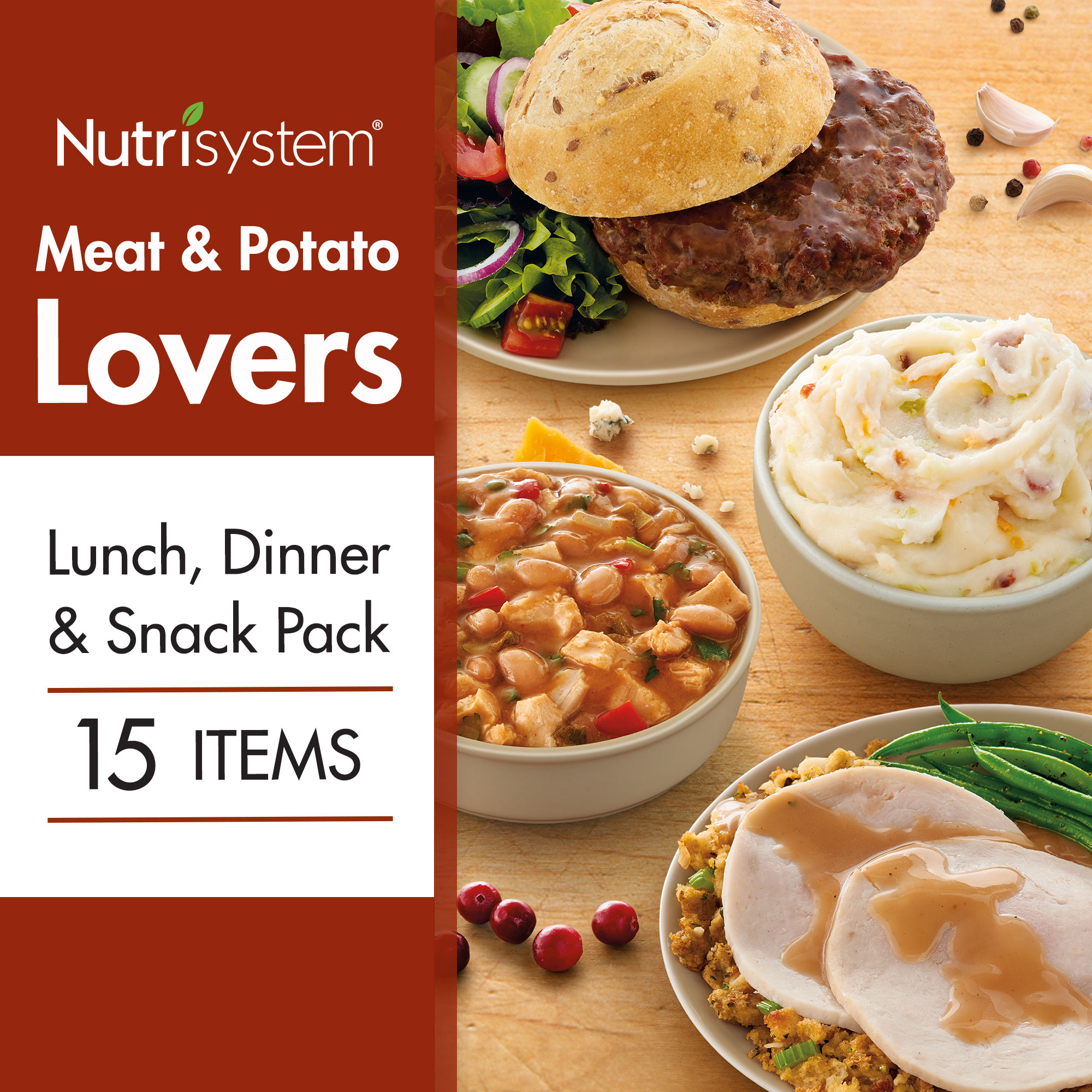 Nutrisystem Meat and Potato Lovers Lunch, Dinner and Snack Variety Pack 15CT