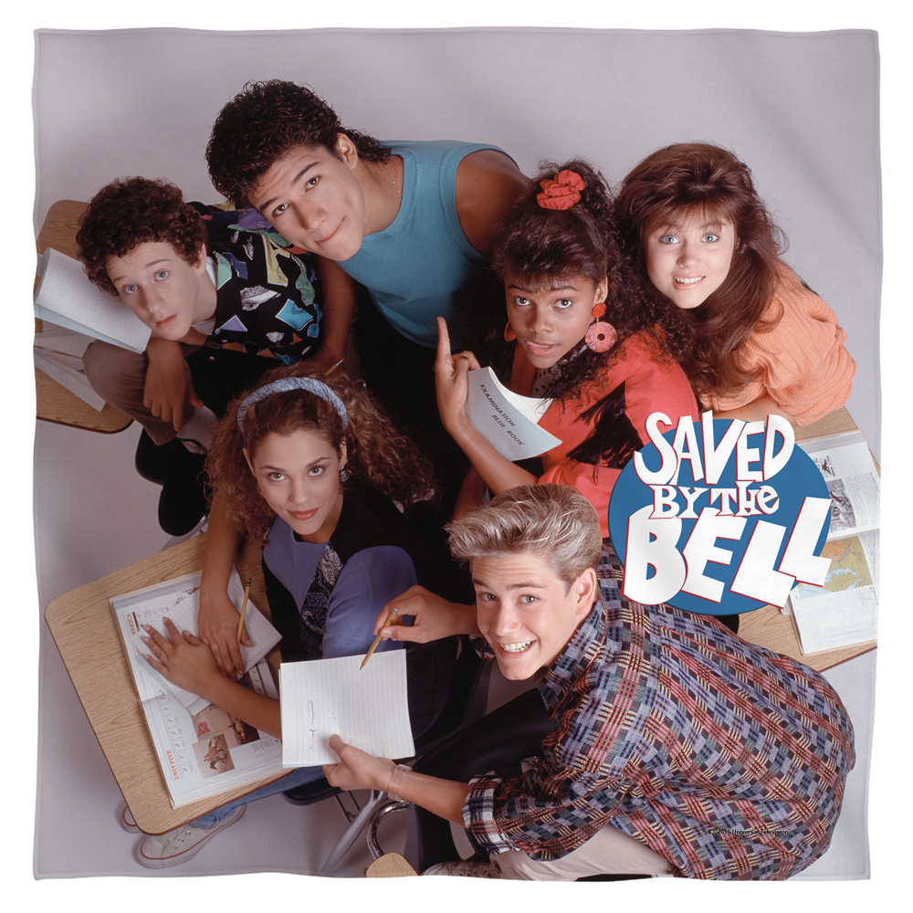 Saved By The Bell Group Shot Bandana  White One Size