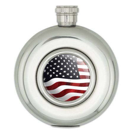 US American Flag Waving United States USA Round Stainless Steel 5oz Hip Flask