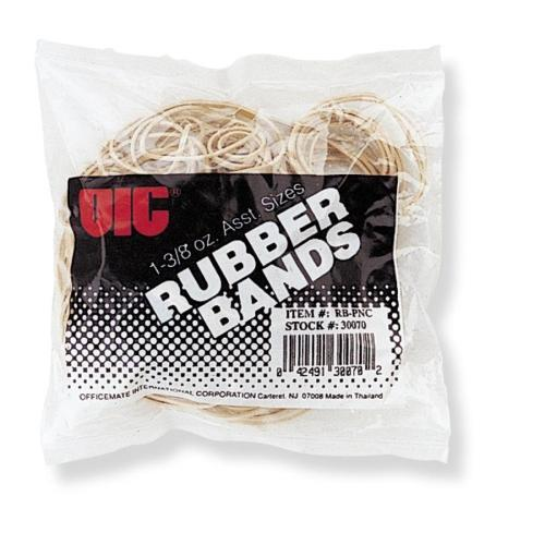 OIC Assorted Size Rubber Band Bag, Natural