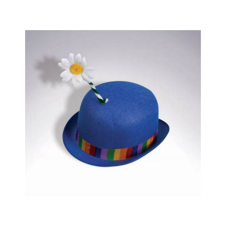 Clown Hats For Sale (CLOWN BLUE DERBY HAT W/FLOWER)