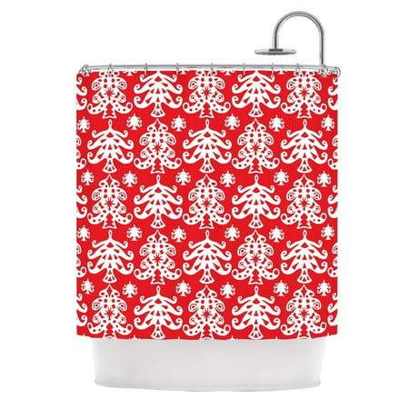 Kess Inhouse  Miranda Mol Ornate Trees Red White Holiday Shower Curtain  69X70