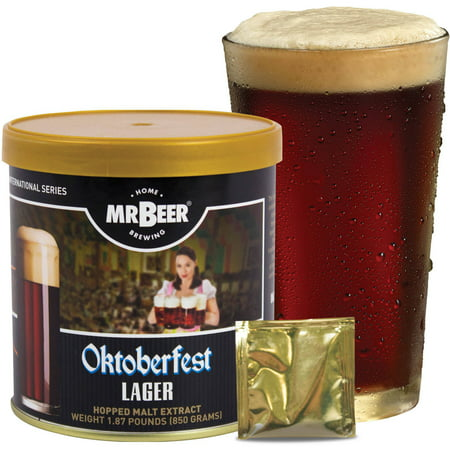 Mr. Beer Oktoberfest Lager 2 Gallon Homebrewing Craft Beer Refill Kit, Contains Hopped Malt Extract Designed for Consistent, Simple and Efficient Homebrewing (Beer Tasting Kit)