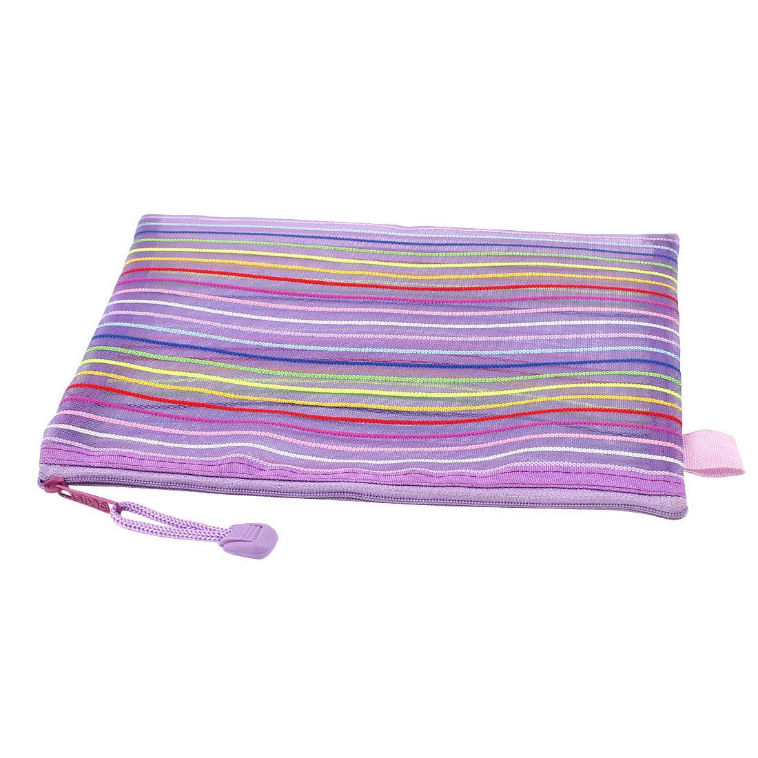 Unique Bargains Meshy Style Stripes Pattern Zip Up A5 Paper Document File Bag Purple - image 2 of 3