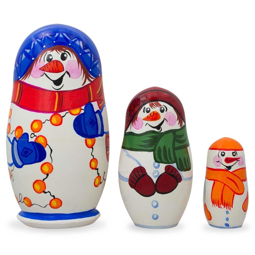 "4.25"" Set of 3 Snowman Wooden Christmas Nesting Dolls"