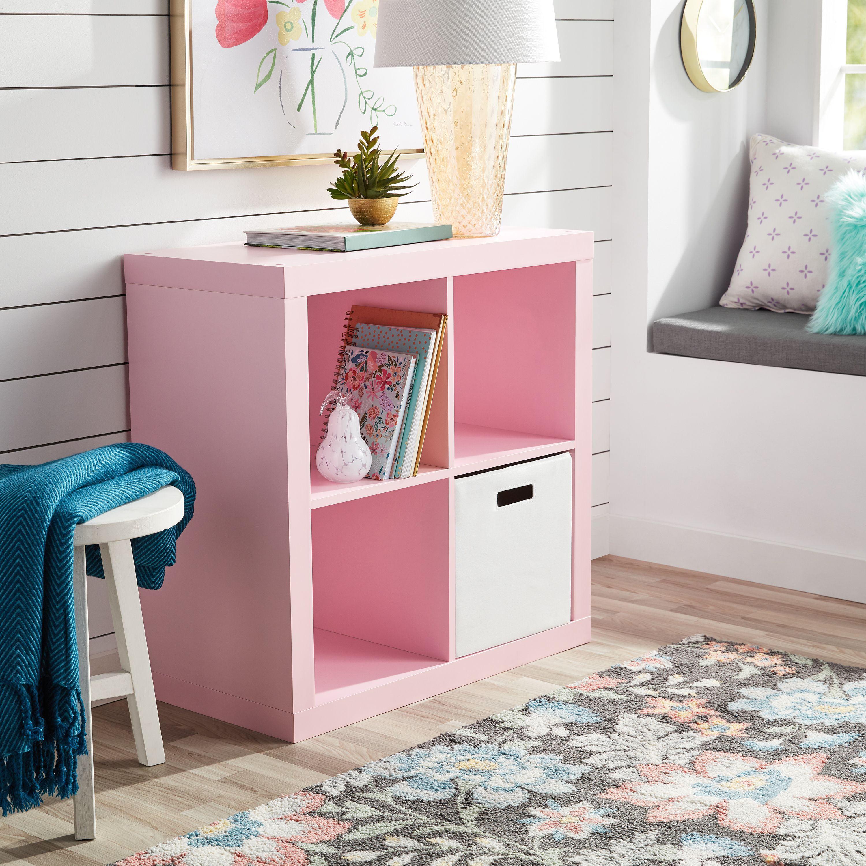 Better Homes Gardens Square 4 Cube Organizer Pink Walmart Com Walmart Com