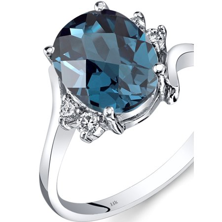 - Peora 2.75 Carat T.G.W. Oval-Cut London Blue Topaz and Diamond Accent 14kt White Gold Ring Size 7