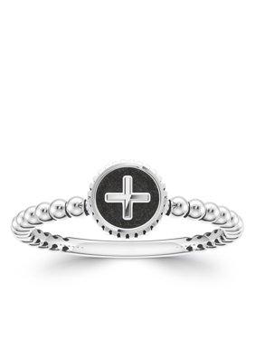Bixler Alphabet Beaded Shank '+' Ring In Sterling Silver