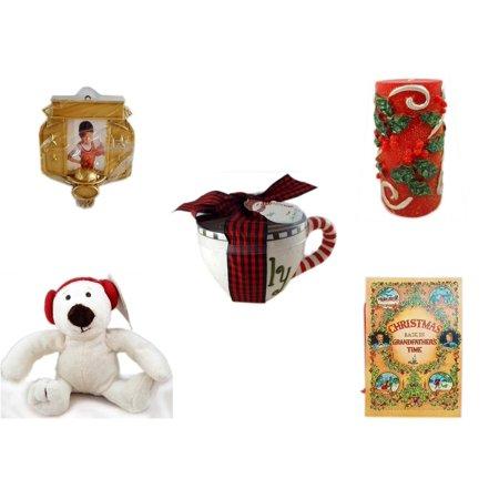Christmas Fun Gift Bundle [5 Piece] - Hallmark Basketball Photo Frame Ornament -  Candle Holly Berry Pillar 3 x 6 - Lady Jane Ltd.  Latte Gift Mug -