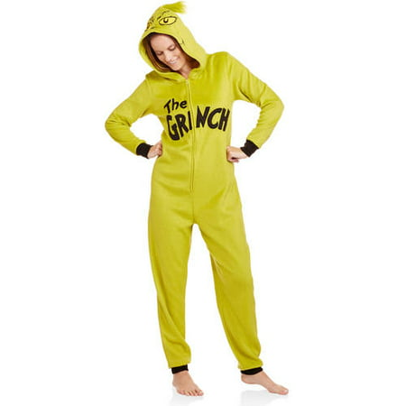 5ce9057f8372 Licensed - Grinch Women s and Women s Plus One Piece Pajamas - Walmart.com
