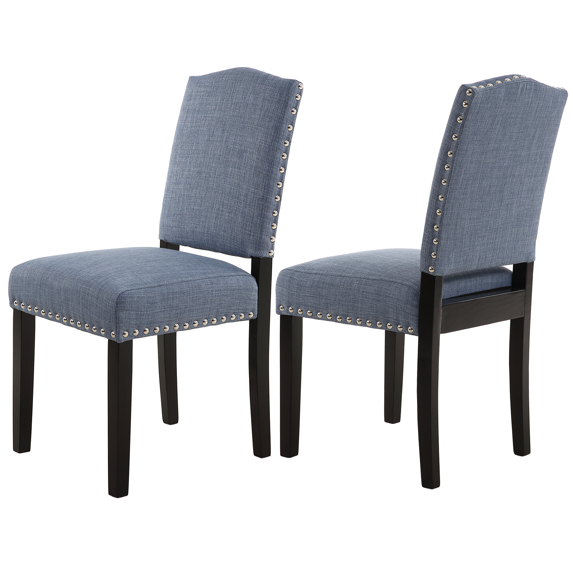Set of 2 LSSBOUGHT Nailhead Barstools with Solid Wood Legs Grey
