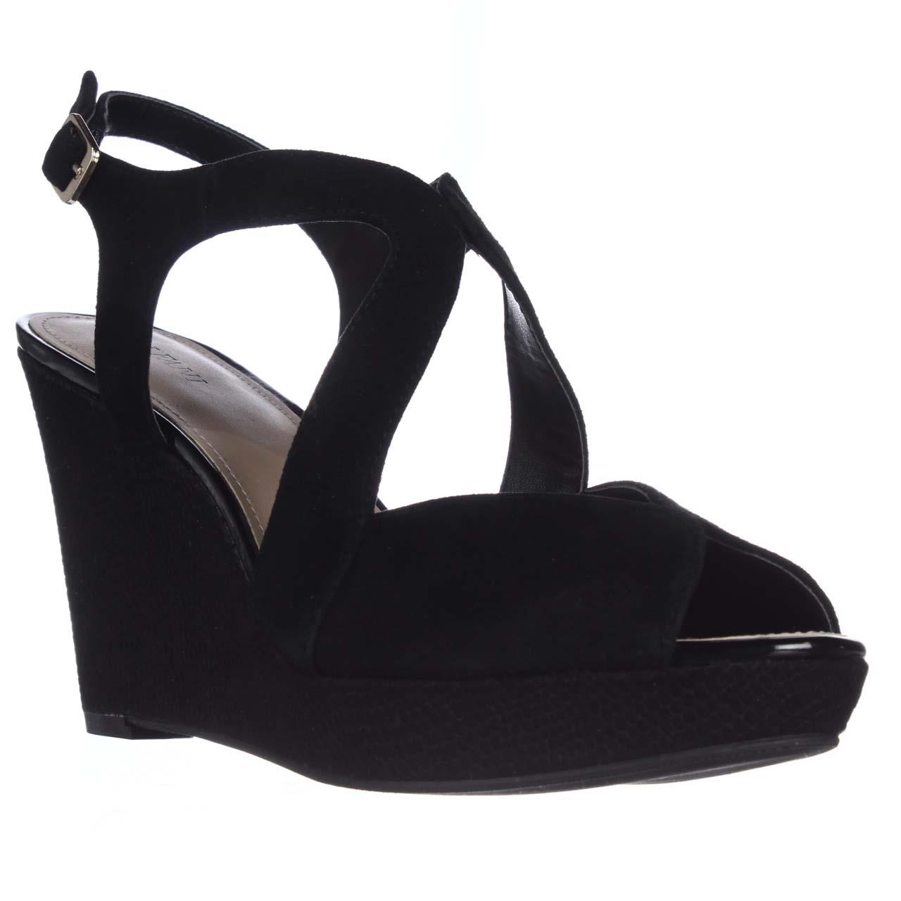 Womens Pellae Platform Wedge Sandals - Black