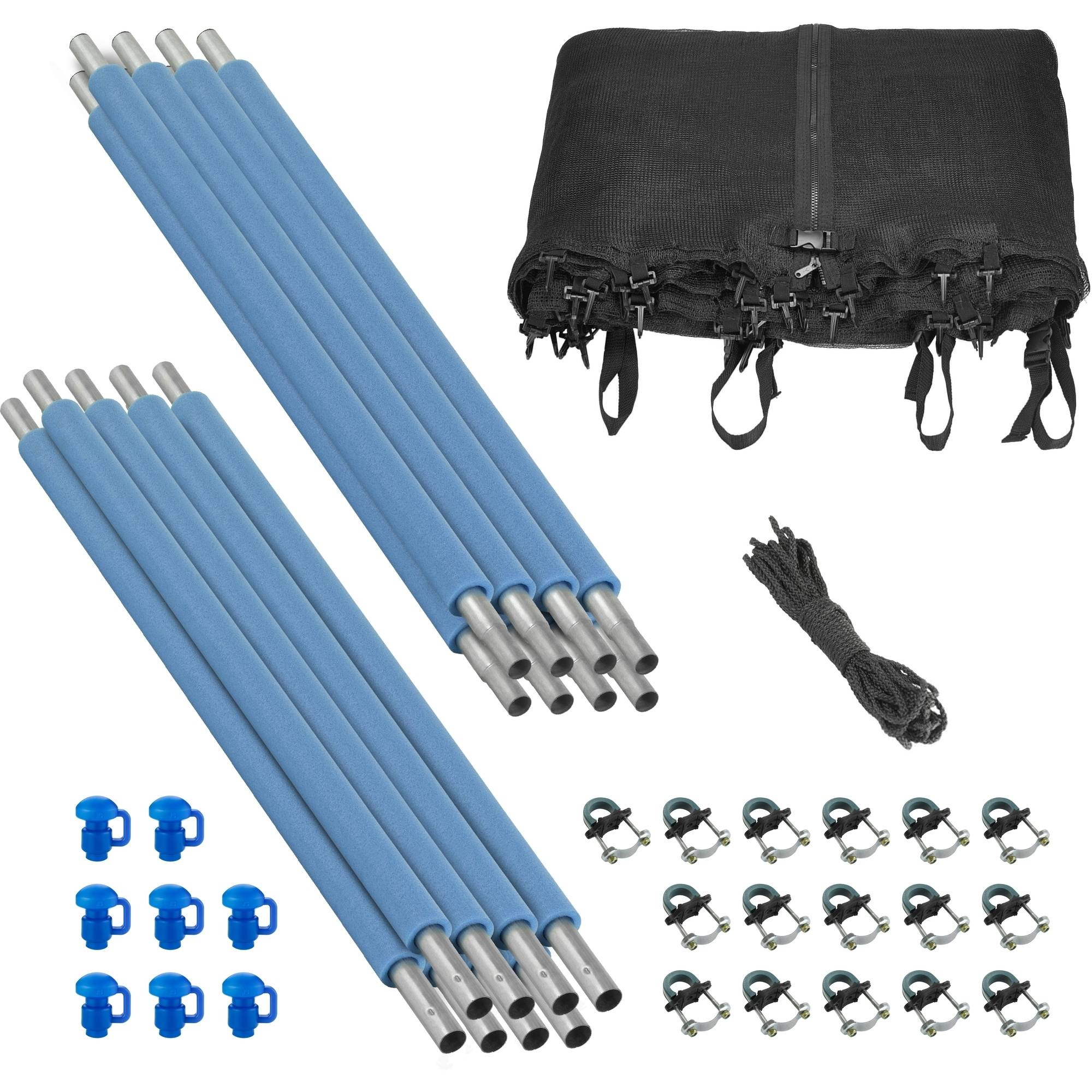 Trampoline Enclosure Set, to fit 15 FT. Round Frames, for 4 or 8 W-Shaped Legs -Set Includes: Net, Poles & Hardware Only