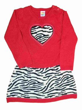 a7554aa9623 Product Image Toddler Baby Girls Red Knit Zebra Heart Christmas Holiday  Fancy Party Dress 3T. Healthtex