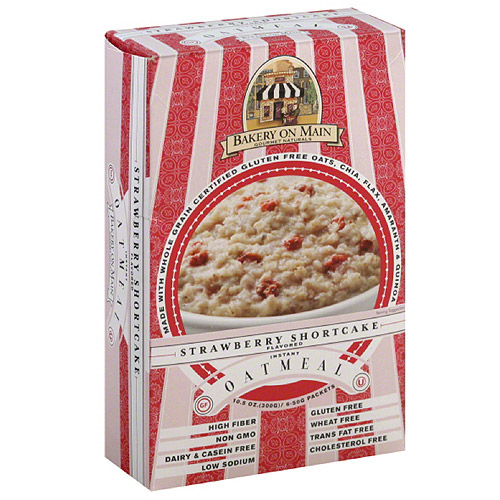 Bakery on Main Strawberry Shortcake Flavored Instant Oatmeal, 6 count, 10.5 oz, (Pack of 6)