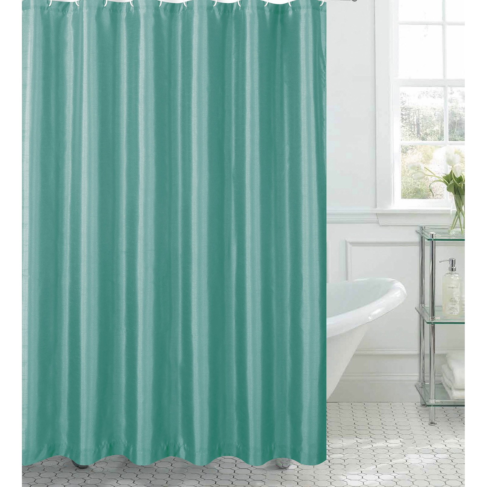 Exceptional Jane Faux Silk Shower Curtain With 12 Metal Rings