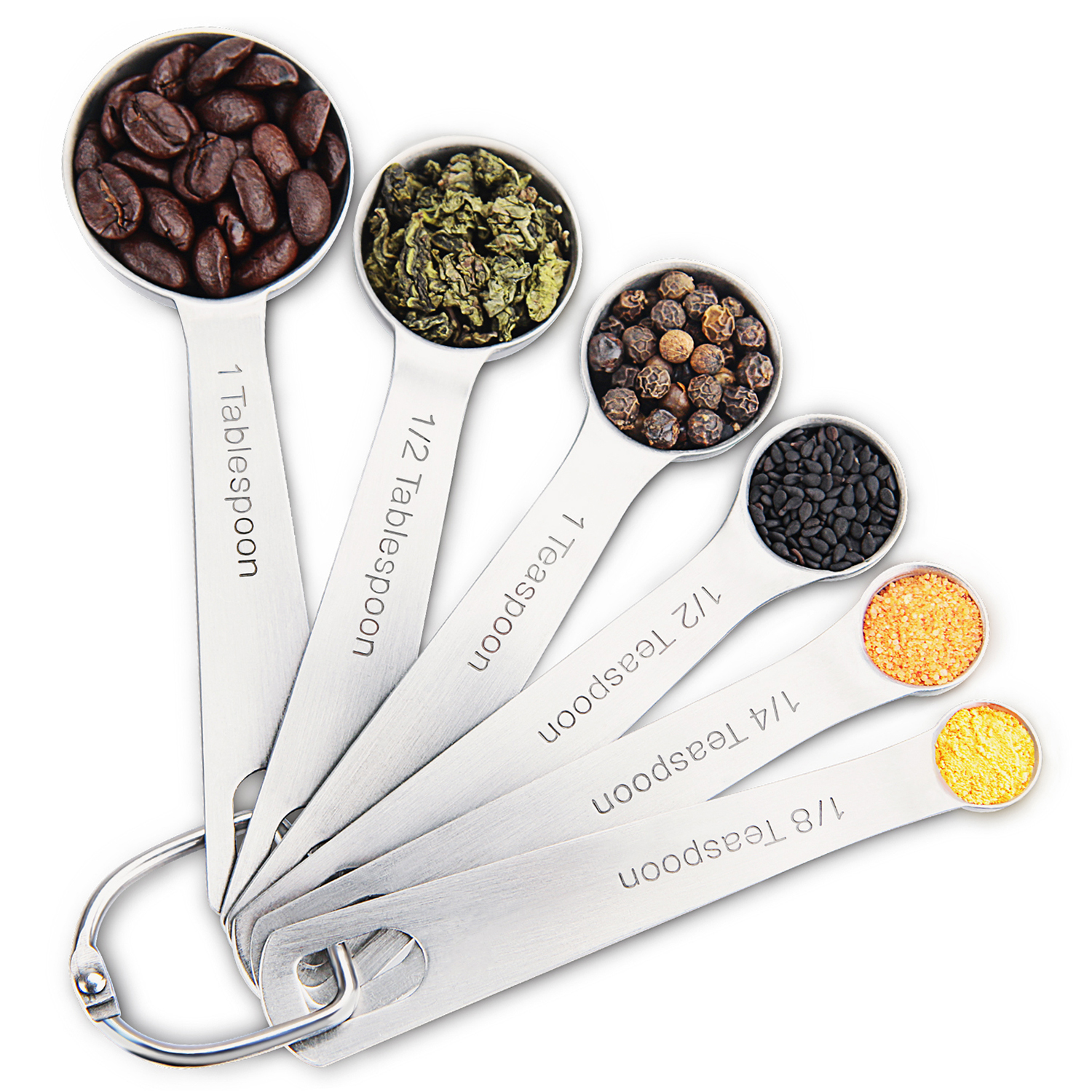 Stainless Steel Measuring Spoons set of 6 for Measuring Liquid and Dry Ingredients Accurate Quality for Baking and Cooking