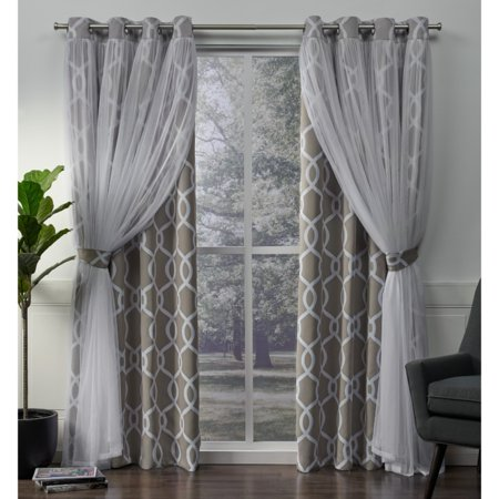 Exclusive Home Curtains 2 Pack Carmela Layered Geometric Blackout and Sheer Grommet Top Curtain