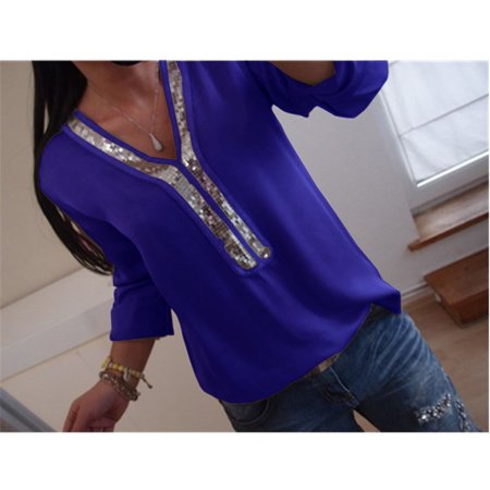 2019 Womens Sexy V-neck Stitching Sequins T-shirt Ladies Casual Loose Long Sleeve Top Plus Size S-5XL