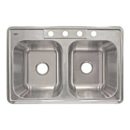 LessCare 33'' L x 22'' W Self Rimming Double Basin Kitchen Sink