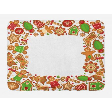 Gingerbread Kitchen (Kids Christmas Bath Mat, Sweet Taste of Xmas Season Frame with Gingerbread Cookies and Biscuits, Non-Slip Plush Mat Bathroom Kitchen Laundry Room Decor, 29.5 X 17.5 Inches, Red Green Brown,)