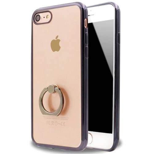 KIKO Wireless Clear Luxury Electroplate Ring Holder Kickstand Case Super-Slim Protective Scratch-Resistant Heavy-Duty Style Cover Semi-Transparent TPU for Apple iPhone 7