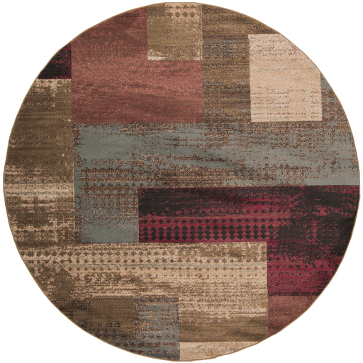 8' Blended Squares Burgundy, Smoke Gray and Beige Shed-Free Round Area Throw Rug