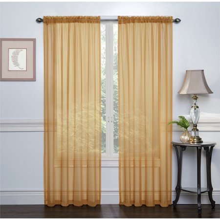 Kate Aurora Living Ultra Luxurious Sheer Voile Window Curtain Pair - Gold, 84 in. Long (Kate Spade Curtain)