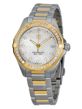 Tag Heuer Aquaracer Mother of Pearl Stainless Steel and 18kt Yellow Gold Ladies Watch WAY1353BD0917