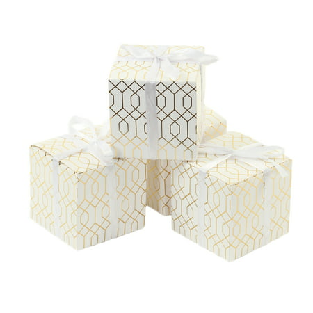 Koyal Wholesale Gift Favor Box Gold Foil, Geometric Hexagon Pattern Favor Box with Ribbon, in Bulk 25-Pack - Wholesale Boxes