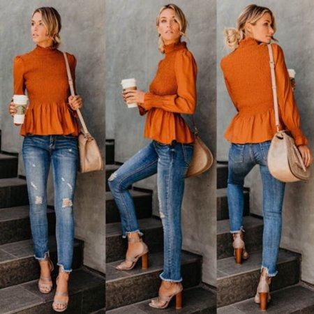 Fashion Women Long Sleeve Top Shirt Ladies Mock Neck Casual Tunic Blouse T-shirt Mock Neck Tunic Top