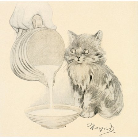 The Kittens Garden of Verses 1911 Jug of milk Canvas Art - Oliver Herford (18 x -