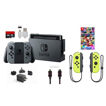 Nintendo Switch 7 Items Bundle Nintendo Switch 32Gb Console Gray Joy Con 128Gb Micro Sd Card Nintendo Joy Con  L R  Wireless Controllers Yellow Mario Kart 8 Deluxe Type C Cable Hdmi Cable Wall Charger