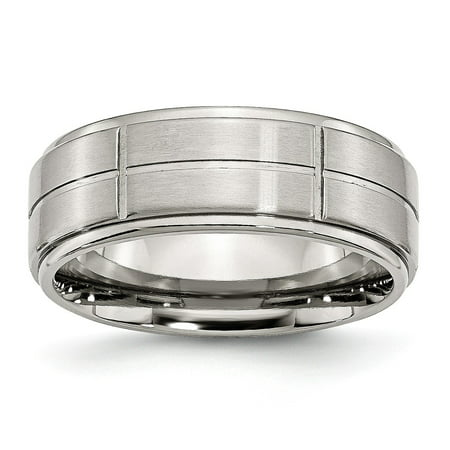 Mia Diamonds Stainless Steel Grooved 8mm Brushed and Polished Ridged Edge Wedding Engagement Band Ring Size - 11.5