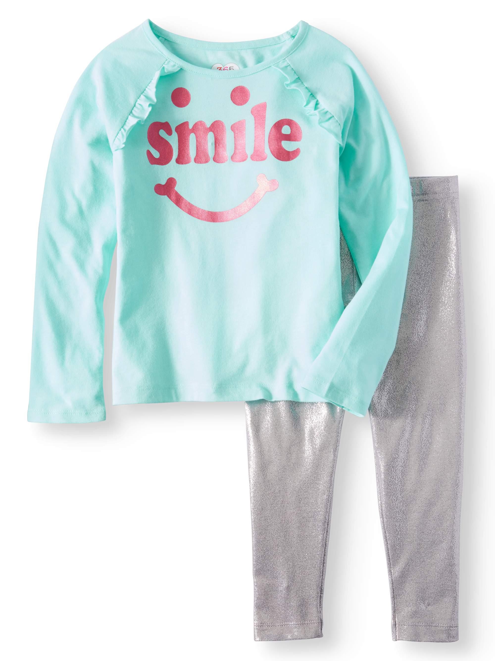 Girls' Long Sleeve Graphic Ruffle Raglan Tee & Shimmer Leggings, 2pc Outfit Set